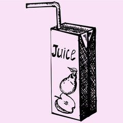 pack of juice with drinking straw, doodle style, sketch illustration