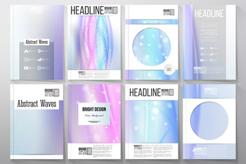 Set of business templates for brochure, flyer or booklet. Abstract wave vector background