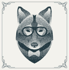 Halftone hipster wolf with black Dots. Vector Illustration.