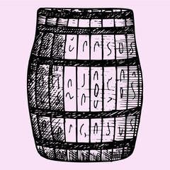 Old wooden barrel, hand drawn, doodle style, sketch illustration