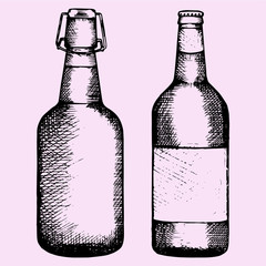 set bottle of beer, hand drawn, doodle style, sketch illustration