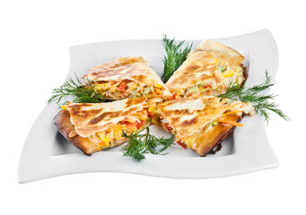 Four sandwiches on a plate