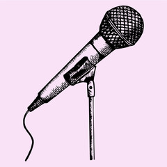 microphone on a stand, doodle style, sketch illustration, hand drawn, vector