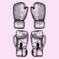 set of the boxing gloves, doodle style, sketch illustration, hand drawn, vector