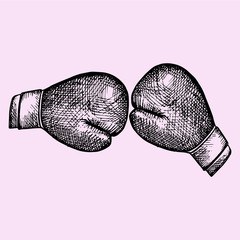 Pair of leather boxing gloves, doodle style, sketch illustration, hand drawn, vector