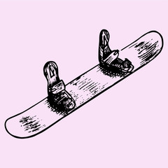 Snowboard, doodle style, sketch illustration, hand drawn, vector