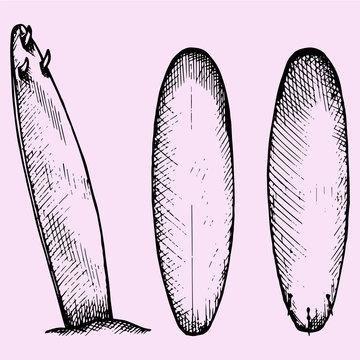 set of surfboard, doodle style, sketch illustration, hand drawn, vector