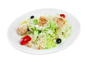 salad from vegetables and meat