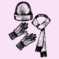 woolen scarf, gloves and hat, doodle style, sketch illustration, hand drawn, vector