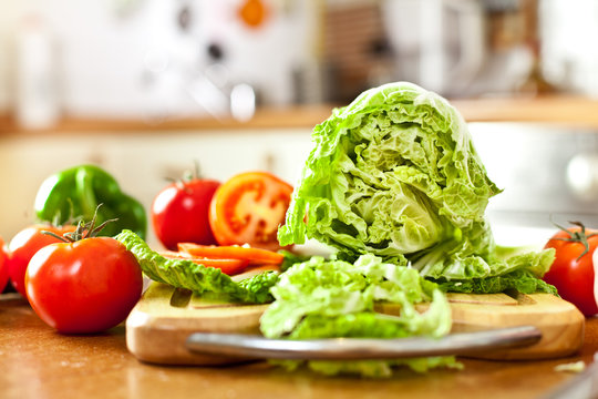 Vegetables lettuce and tomato