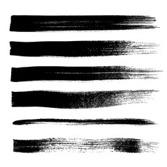 Brush strokes set abstract vector illustration.