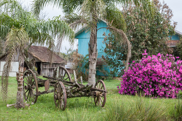 An old abandoned wagon with wooden houses and flowers in the bac