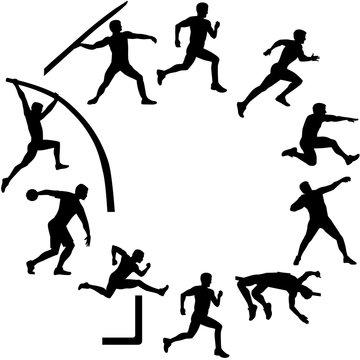 Decathlon silhouettes in circle shape