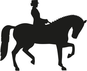 Silhouette of dressage horse and rider