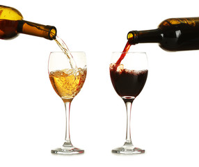 Different wine pouring in glasses, isolated on white