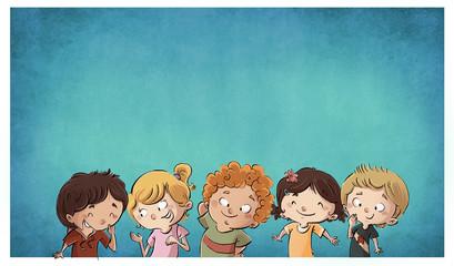 niños felices con fondo