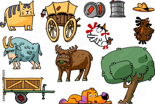 Serie Di Simpatici Disegni Con Animali E Oggetti Da Fattoria