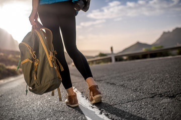 Traveler with backpack on the road Wall mural