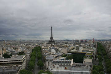 The Eiffel Tower, seen from top of the Arc de Triomphe, Paris, France