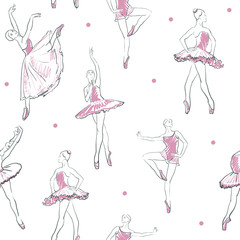 vector sketch of girls ballerina seamless pattern