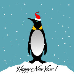 Solitary penguin with a red cap standing alone in the cold winter. New Year postcard concept