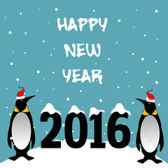 Abstract colorful background with two penguins with red caps standing near the number 2016 and the text Happy New Year written with white letters