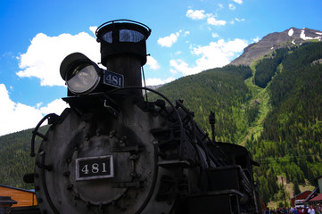 Steam Engine and Mountains Colorado