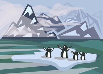 Polar landscape with cute penguins standing on iceberg. EPS 10 vector illustration.