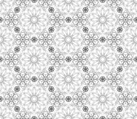 Complicated vector seamless black and white background, texture. Ornament of fine lines.  Endless texture can be used for wallpaper, pattern fills, web page background,surface textures.
