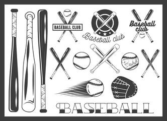 Vector set of baseball club emblem, label, badges, logo and design elements. Sport icons in vintage style. Baseball bat, ball, glove