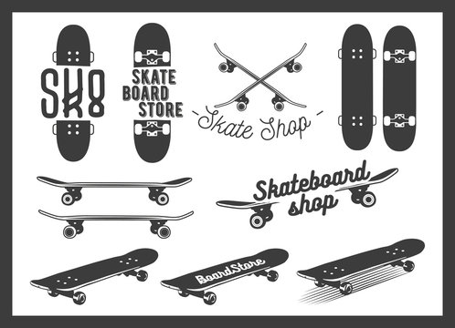 Vector set of skateboard emblems, labels, badges and design elements. Skateboarding concept illustration