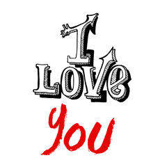 I Love You lettering on a white background. Vector