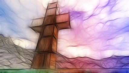 Wooden cross in water