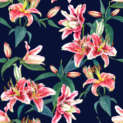 Seamless floral pattern of exotic pink tropical lilies. Hand painted watercolor. Isolated on indigo blue background. Fabric texture.