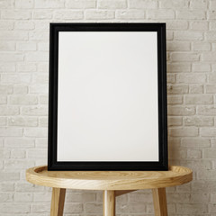 Mock up black frame on wooden  low table, 3d rendering