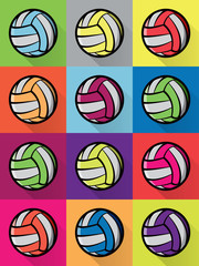 Colorful Volleyball Icons Background Illustration