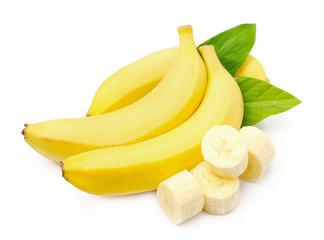 Sweet bananas on white