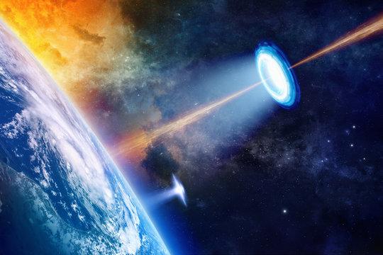 UFO near planet Earth