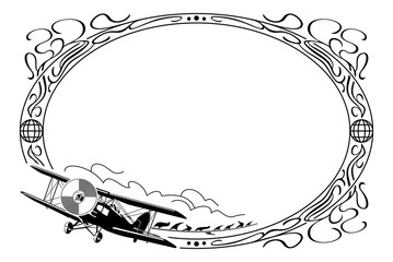 Oval frame with airplane
