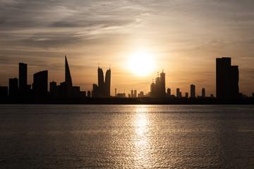 Skyline of Manama at sunset, Bahrain
