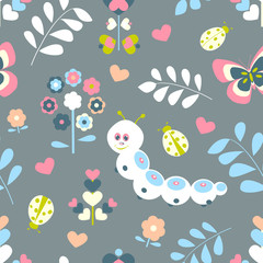 Floral seamless pattern with butterflies, hearts and ladybugs for kids