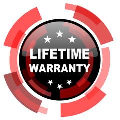 lifetime warranty red modern web icon