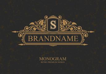 Monogram Typographic Brandname Logo template with flourishes calligraphic elegant ornament elements, Elegant line art logo, Business sign for Royalty, Boutique, Cafe, Hotel, Heraldic