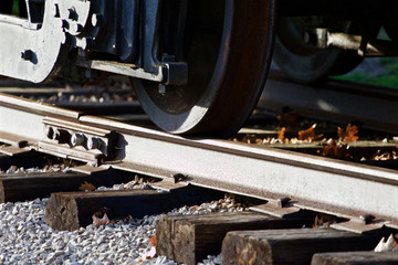 Photo of the train wheels and the road