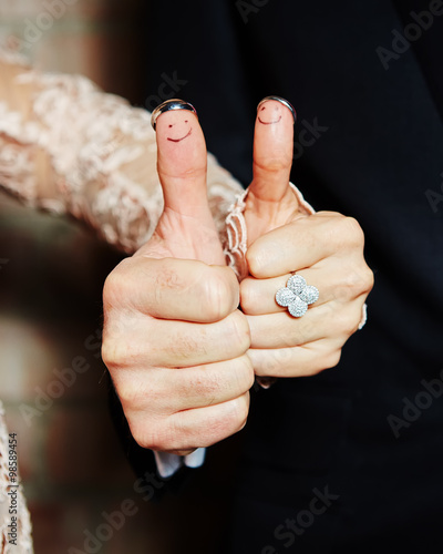 """""""wedding Rings On Her Fingers Painted With The Bride And"""
