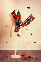 Winter Tartan Scarf With Fall Leaves