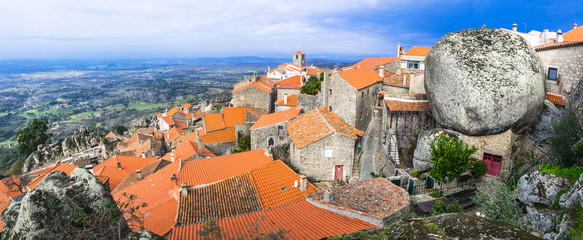 most beautiful villages - Monsanto , over granite rocks . Portug Fototapete