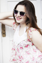 Teen girl wearing sunglasses