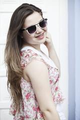 Teen girl wearing glasses