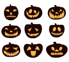 Halloween Pumpkins Emoji Set. Vector Illustration.